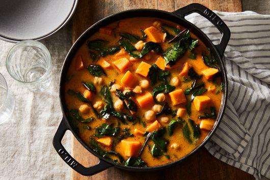 Sweet Potato Stew With Chickpeas & Hardy Greens