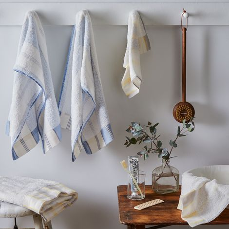 French Stripe Soft Cotton Linen Bath Towels