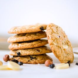 Salty White Chocolate Hazelnut Blueberry Cookies
