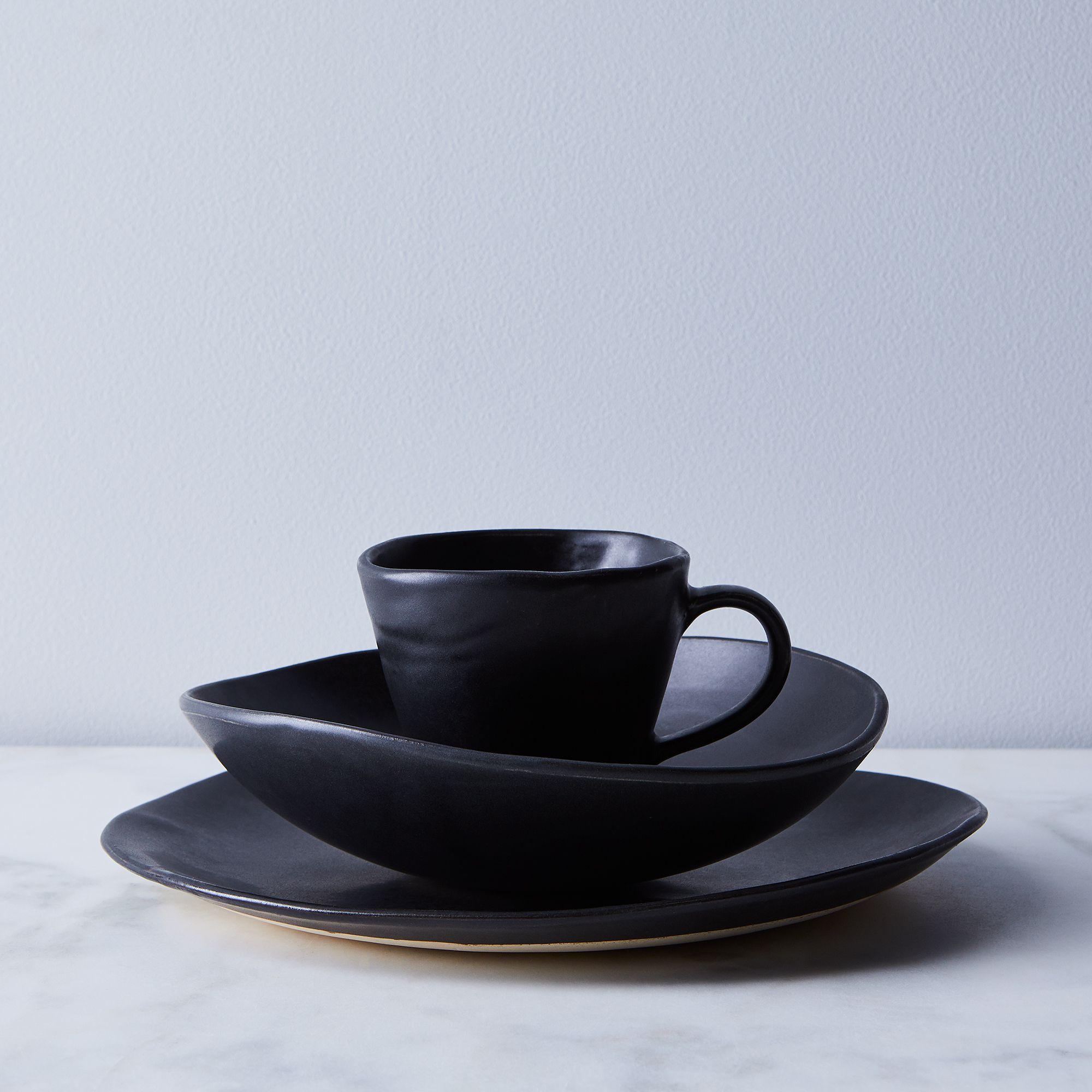 Handmade Wabi Sabi Ceramic Dinnerware Black, 3-piece Set