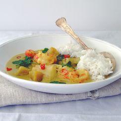Sea bass, prawn and sweet potato green curry