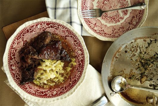 Liver and Onions with Burnt Honey and Apple Cider Reduction