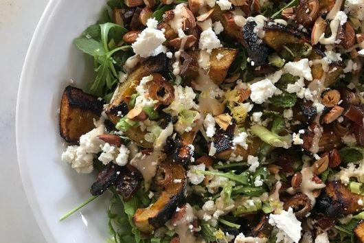 Roasted Delicata Squash Salad with Toasted Almonds, Mint and Tahini