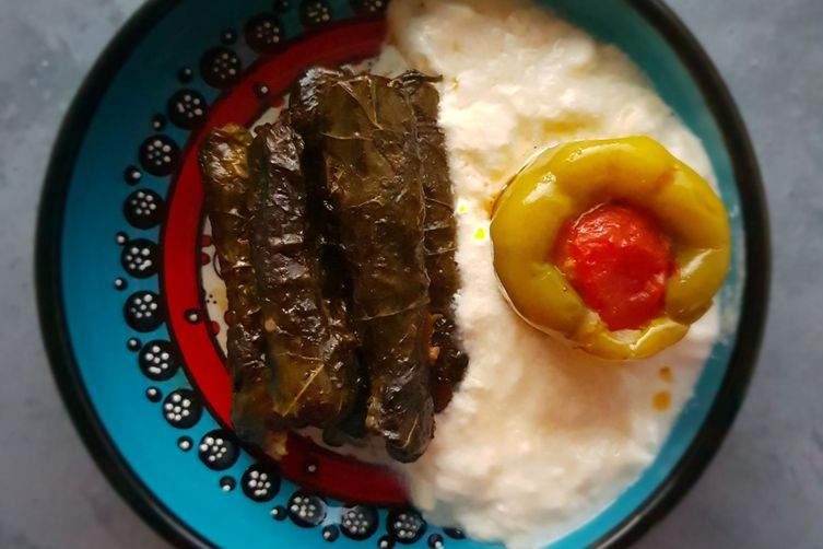 STUFFED GRAPE LEAVES, BELL PEPPERS