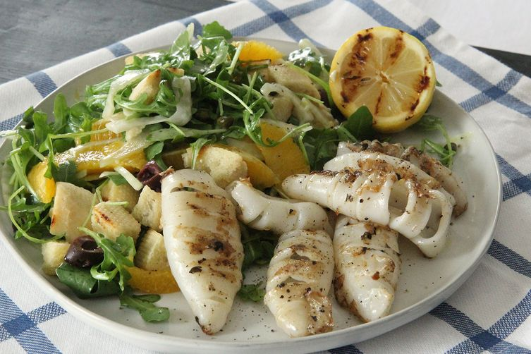 Orange Fennel Panzanella with Grilled Calamari (Tuscany Recipe)