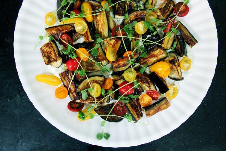 Roasted Eggplant Salad with Cucumber-Yogurt Sauce, Tomatoes, and Kale