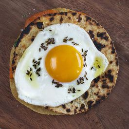 Sweet Potato and Cilantro Quesadilla with Fried Egg + Cumin Oil