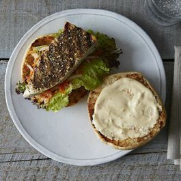 Grilled Fish Hoagies with Za'atar, Harissa Aioli, and Carrot Cilantro Pickle