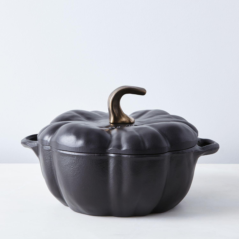 Staub cast iron pumpkin cocotte qt on food