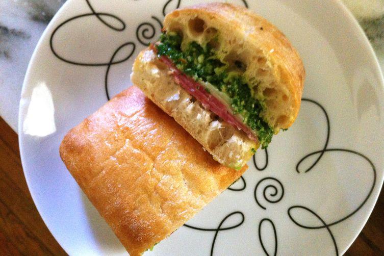 Kale Pesto (on a German salami sandwich)
