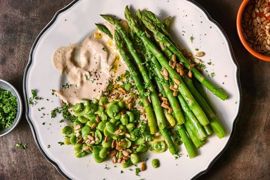 Asparagus & Fava Beans With Tonnato