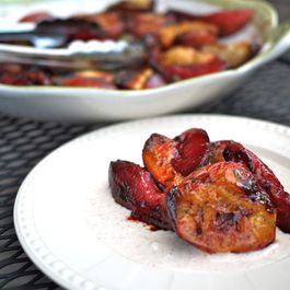 Grilled Honey Basil Peaches