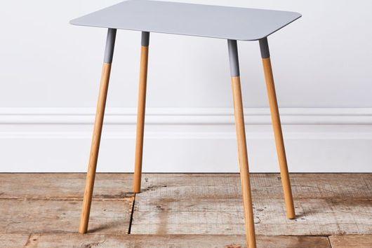 Grey Steel & Wood Rectangular Side Table