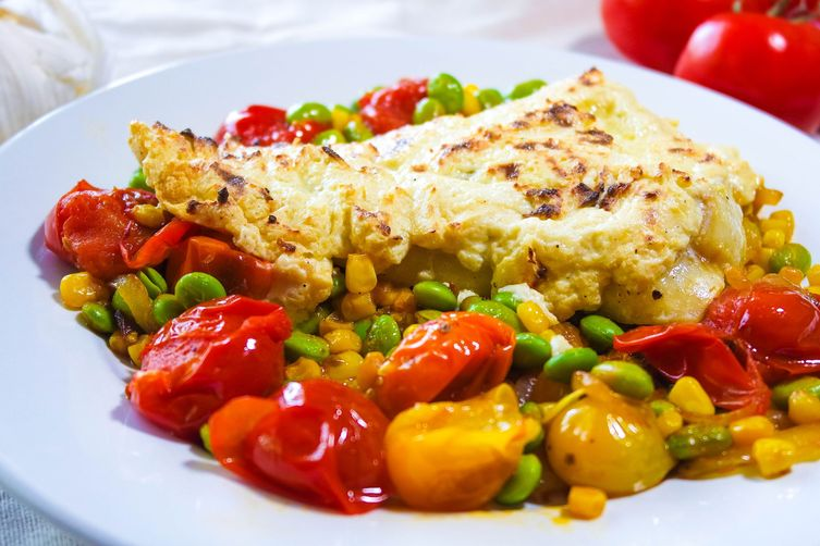 Parmesan-Dijon Crusted Cod on Burst Tomatoes