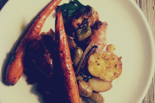 Roast Chicken Thighs with Olives and Honeyed Carrots