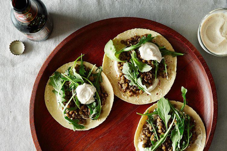 Mushroom & Lentil Tacos with Tahini-Yogurt Sauce