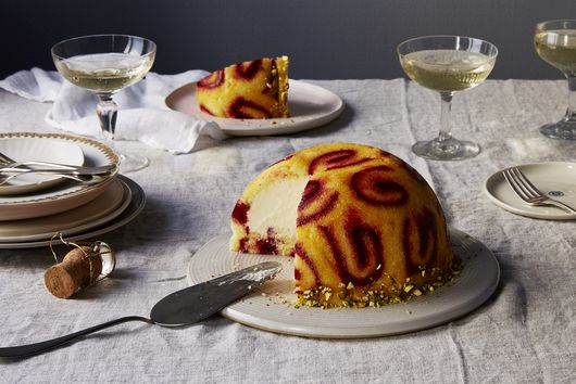 Christmas Bombe with Berry Preserves and White Chocolate Mousse