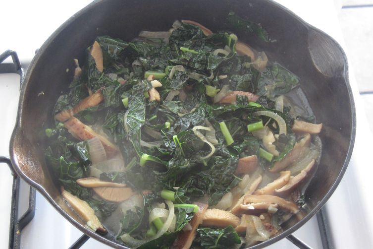 Miso Braised Kale and Mushrooms