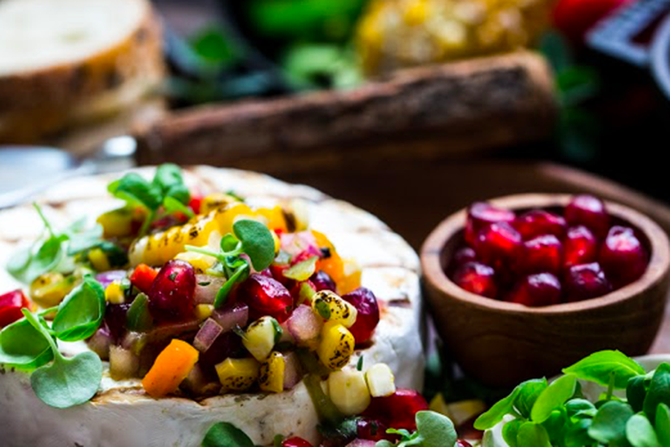 Campfire Brie with Grilled Corn Salsa