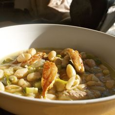 Tarragon, bean and smoky mackerel quick soup
