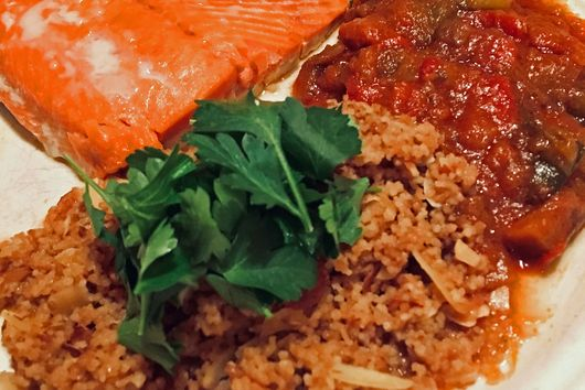 SeaBear Wild Sockeye Salmon Fillets with Lemon-Almond Couscous and Ratatouille