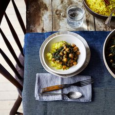 Spicy, Creamy Chickpeas & Spinach (Chana Saag-ish)