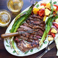 easy marinated rib-eye and veg