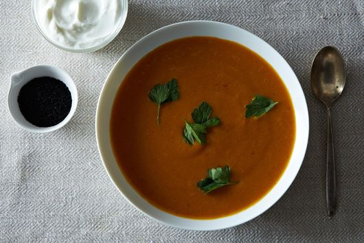 Carrot, Sweet Potato, and Red Lentil Soup with Moroccan Flavors