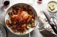 Buttermilk Roast Chicken with Potatoes and Cornichon Butter