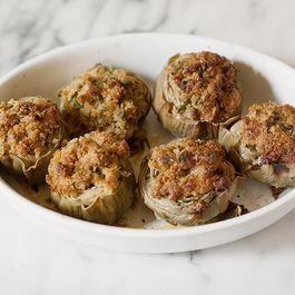 Stuffed Artichokes with Capers & Anchovies (Carciofi Ripieni alla Siciliana)