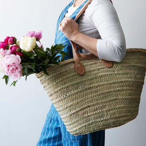 Palm Leaf Market Basket with Double Handles