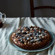 Mocha Whiskey Mousse Tart with Pretzel Crust