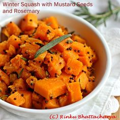 Butternut Squash with Ginger, Rosemary and Toasted Mustard Seeds