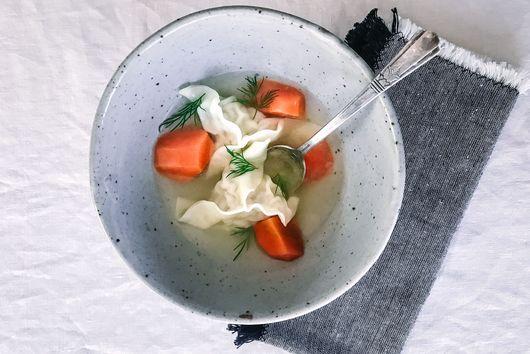 Quick Gyoza Kreplach (Dumpling Soup) for Sukkot