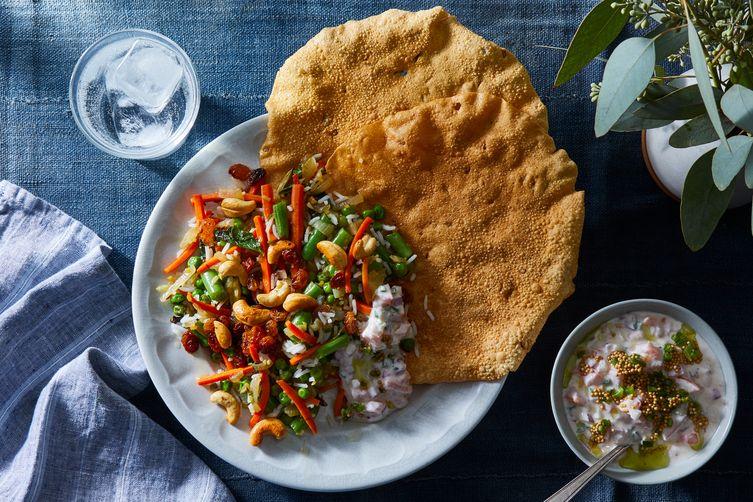 Indian Rice Pilaf With Tomato-Onion Raita & Crispy Papad