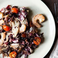 Dinner Tonight: Roasted Radicchio and Shrimp with Warm Bacon Vinaigrette + Summer Farro Salad