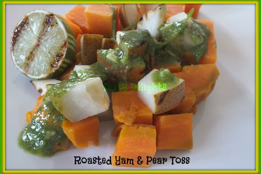 Warm Roasted Pear & Yam Salad with Tahini Pesto Drizzle
