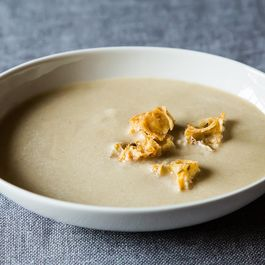 Roasted Garlic Soup with Olive Croutons