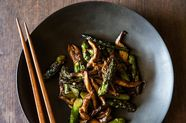 Oyster Sauce Glazed Asparagus and Mushrooms