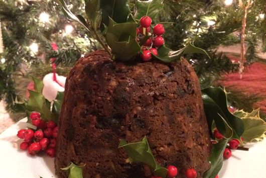 English Plum Pudding with Southern Comfort Bourbon Sauce