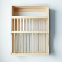 Wooden Plate Rack & Shelf
