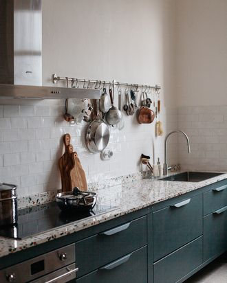 Upper cabinets were sacrificed so the kitchen felt airy and open.