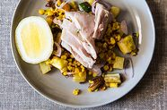Poached Tuna with Warm Squash, Corn, and Potato Salad