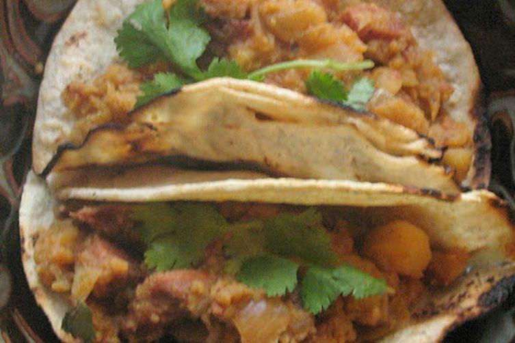 Chorizo and Potato Tacos with Salsa Verde