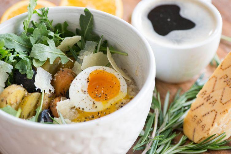 Savory Breakfast Oat Bowl with Grana Padano