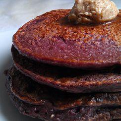 Oatmeal Purple Sweet Potato Pancakes with Blueberries