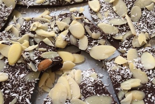 Dark Chocolate Almond Coconut Bark with Sea Salt