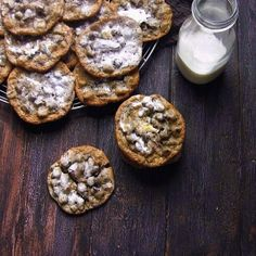 Honey Marshmallow Crème Swirl Dark Chocolate Chunk Cookies