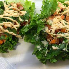 Miso Marinated BBQ Salmon Lettuce Wraps with Sriracha Mayonnaise