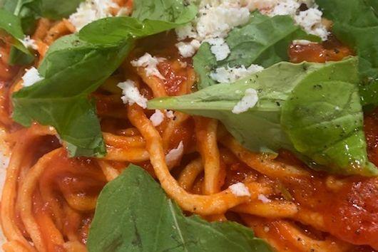 Spaghetti alla Chitarra with Smoked Juniper Ricotta, Polpa, and Arugula